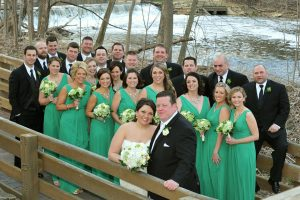 Bridal party at Graue Mill Nature Preserve in Hinsdale, Illinois.