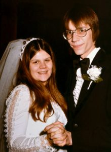 Bride and groom from the 1970's dancing to their first dance as husband and wife.