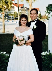 Bride and groom married in the 1990's at the Grand Floridian in Walt Disney World.