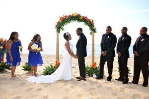 Wedding ceremony on a beach in Chicago.